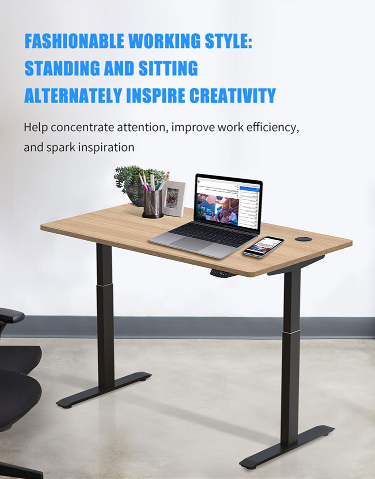 Electric Standing Desk System. Electric motor of variable height control. Black desk frame only, does not include table tap. Hi5 Brand distributed by Amaproducts in Brisbane Queensland.  Improve your posture and health while you work.